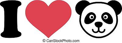 głowa, miłość, panda