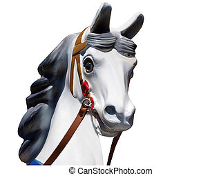 głowa, na, stary, karuzela, koń