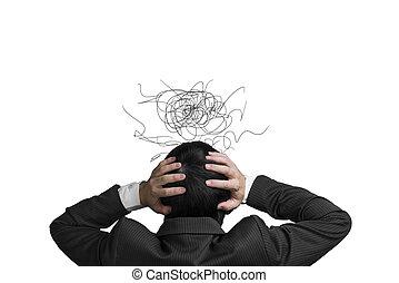 głowa, nieporządny, zmartwienie, kwestia, odizolowany, ręka,...