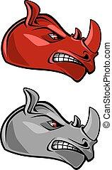 głowa, nosorożec, gniewny, rogaty, maskotka
