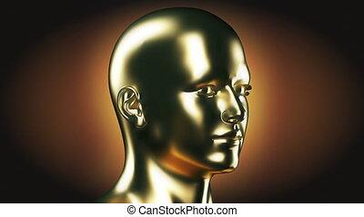 głowa, obracający, złoty