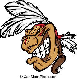 głowa, odważny, indianin, szczerzenie zębów, wektor, rysunek, maskotka