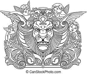głowa, otoczony, anioły, lew