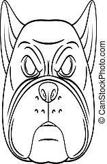 głowa, pies, byk