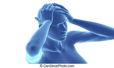 głowa, pojęcie, ból, migrena, pian, tętniący