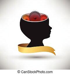 głowa, pojęcie, ludzki, pracujący, noski, idea, razem, mechanizmy, tło