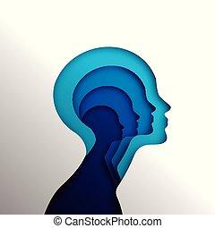 głowa, pojęcie, psychologia, ludzki, cutout
