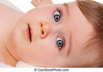 głowa, portret, od, niejaki, młode dziecko, -, niemowlę, wielkie wejrzenie