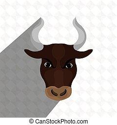 głowa, projektować, byk