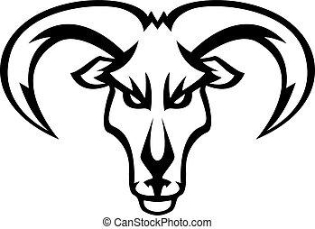 głowa, projektować, goat, ilustracja