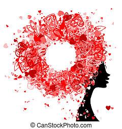 głowa, robiony, fryzura, malutki, projektować, samica, serca, twój
