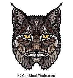 głowa, ryś, wildcat, odizolowany, maskotka