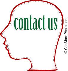 głowa, słowo, us., kontakt, wektor, ludzki