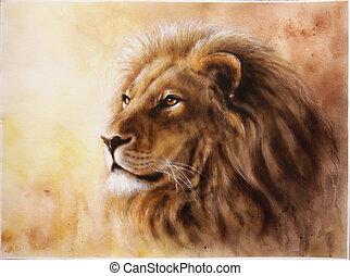 głowa, spokojny, wyrażenie, lew, majesticaly