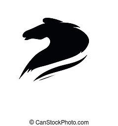 głowa, stylizowany, koński, rysunek