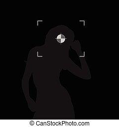 głowa, sylwetka, ognisko, ilustracja, czarna dziewczyna