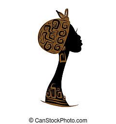 głowa, sylwetka, ozdoba, projektować, samica, etniczny, twój