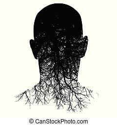 głowa, sylwetka, to, morphs, man?s, podstawy