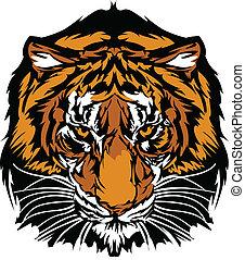 głowa, tiger, maskotka, graficzny