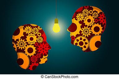 głowa, twórczy, idea, ludzki, natchnienie