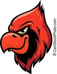 głowa, wektor, kardynał, ptak, czerwony, ikona
