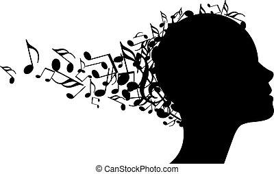 głowa, wektor, muzyka