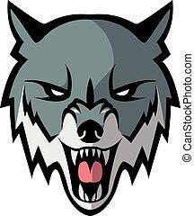 głowa wilka, projektować, ilustracja