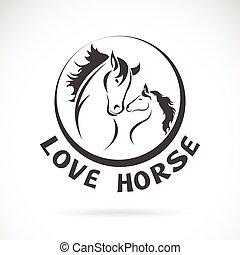 głowa, wizerunek, koń, wektor, projektować, tło, biały