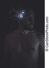 głowiasty, robot, humanoid, komunikacje, techniczny, wpajać,...