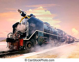 gőz, vasutak, emelvény, állomás, kíséret, lokomotív