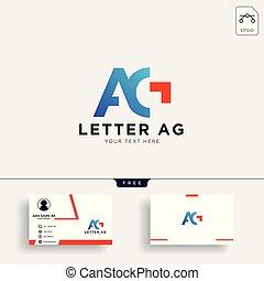 g, ビジネス, 創造的, ag, 手紙, ロゴ, ∥あるいは∥, カード, テンプレート