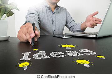 g, 仕事, 現代, 考え, ビジネスマン, 手, ビジネスコンピュータ, 概念, 新しい