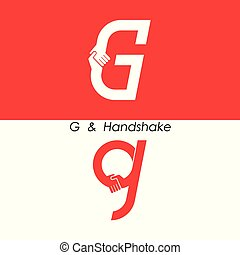 g, -, 편지, 떼어내다, 아이콘, &, 손, 로고, 디자인