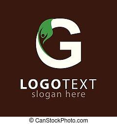 g, 편지, 와, 잎, 사람, 로고, 아이콘, 벡터, 본뜨는 공구