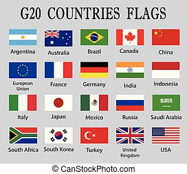 G 20 Countries Flag set