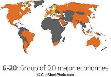 g-20, miembro, estados, mapa del mundo