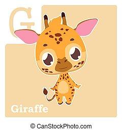g, alfabet, -, giraffe, brief, kaart