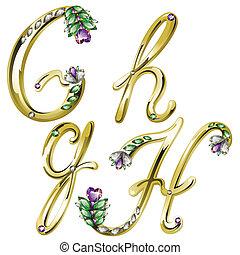 g, alfabeto, letras, jóia, ouro