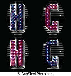 g, brillant, lettres, rhinestones