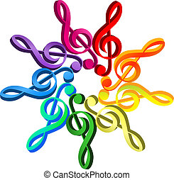 G clef in circle pattern, colored as a spectrum