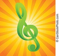 g clef, képben látható, narancs háttér