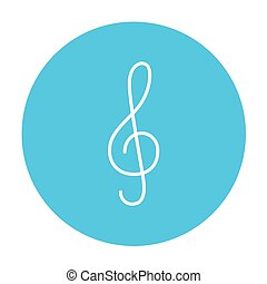 G-clef line icon.