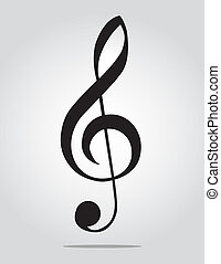 G Clef on gray background - G clef isolated on gray gradient...
