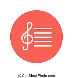 G-clef thin line icon - G-clef with bar line thin line icon...