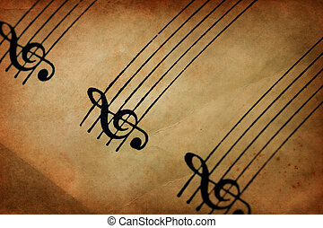 G Clef - Vintage textured image of G clef and musical staff