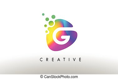 G Colorful Logo Design Shape. Purple Abstract Shape Letter Icon.