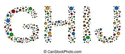 g, coloridos, h, j, ilustração, letters., vetorial, pontilhado