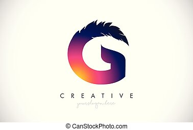 G Feather Letter Logo Icon Design With Feather Feathers Creative Look Vector Illustration