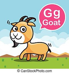 G Goat color cartoon and alphabet for children to learning vector illustration eps10
