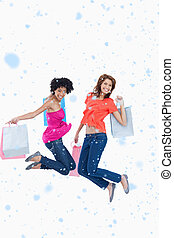 g, imagem composta, após, adolescentes jovens, pular, energeticamente